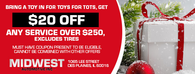 Bring a toy in for Toys for Tots, get $20 off any service over $250
