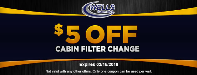 $5 Off Cabin Filter Change