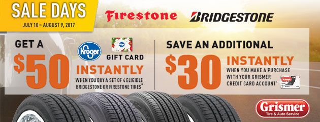 Get a $50 Kroger Gift Card When You Purchase 4 Eligible Bridgestone or Firestone Tires