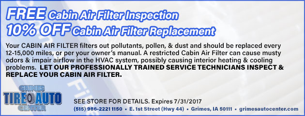 FREE Cabin Air Filter Inspection & 10% OFF Replacement