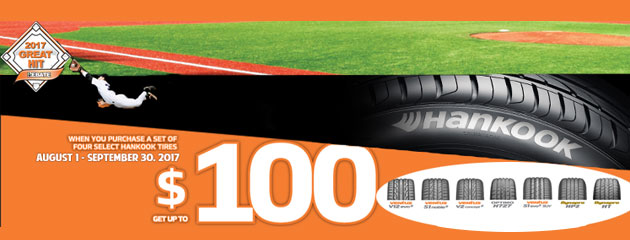 Hankook Promo - Get Up to $100 When You Purchase a Set of Four Select Hankook Tires