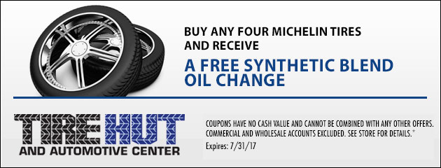 Buy any Four Michelin Tires and receive a Free Synthetic Blend Oil Change