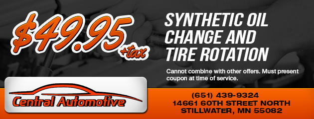 $49.95 synthetic oil change and tire rotation