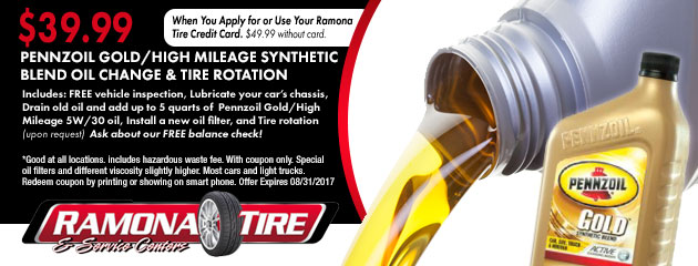 $39.99 Pennzoil Gold/High Mileage Synthetic Blend Oil Change & Tire Rotation