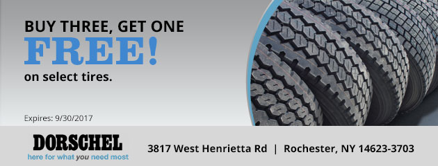 Buy three get one free on selected tires