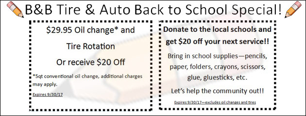 B&B Tire & Auto Back to School Special