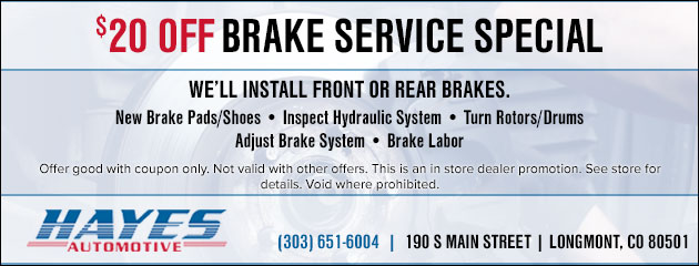 $20 Off Brake Service Special