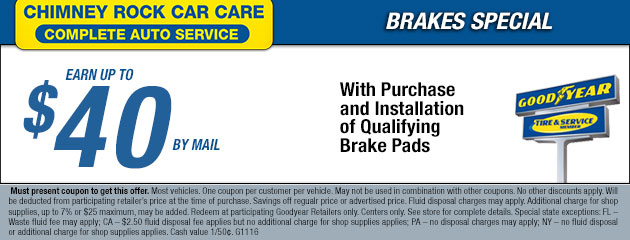 Earn uo to $40 by Mail with Purchase & Installation of Brake Pads
