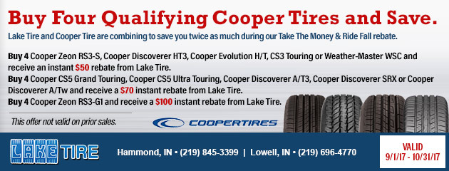 Buy Four Qualifying Cooper Tires and Save.