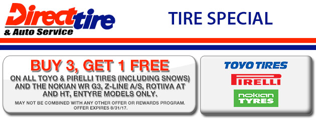 Buy 3, Get 1 Free on All Toyo, Pirelli and Select Nokian Tires