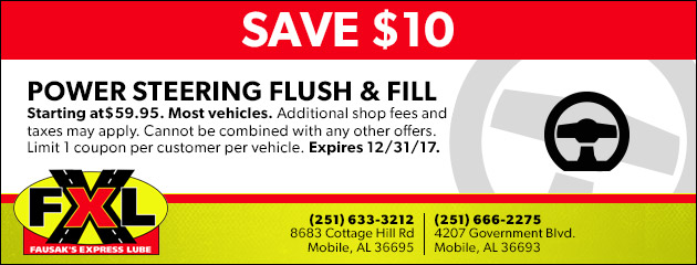 Save $10 on a Power Steering Flush & Fill Service