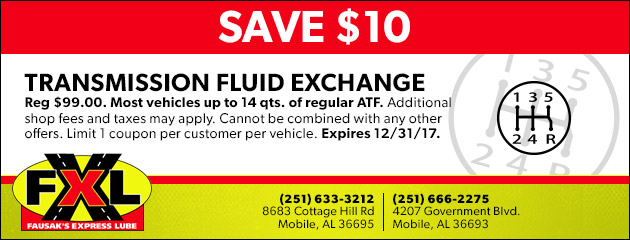Save $10 on a Transmission Fluid Exchange Service