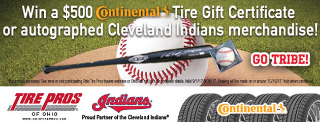 Win a $500 Continental Tire Gift Certificate or autographed Indians Merchandise!