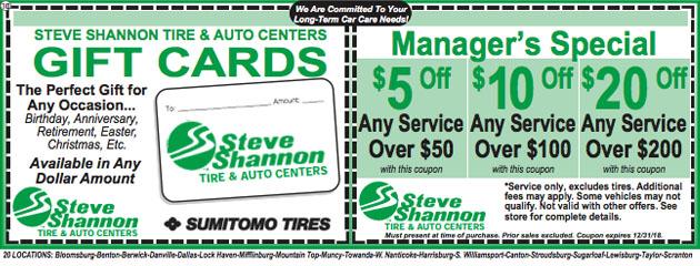Steve shannon tire auto center bloomsburg pa tire for Firestone motors harrisburg pa