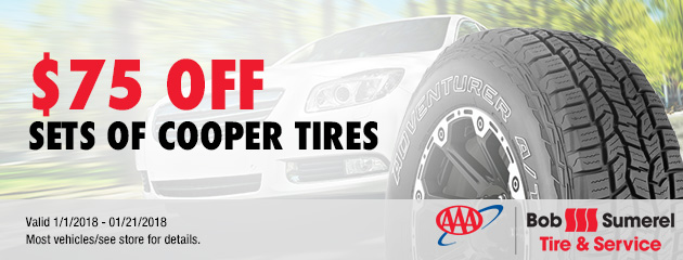 $75 Off Sets of Cooper Tires