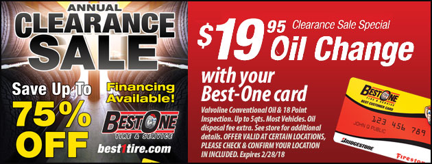 Annual Clearance Sale - $19.95 Oil Change