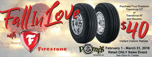 Fall in Love With Firestone - $40 Instant In store Rebate