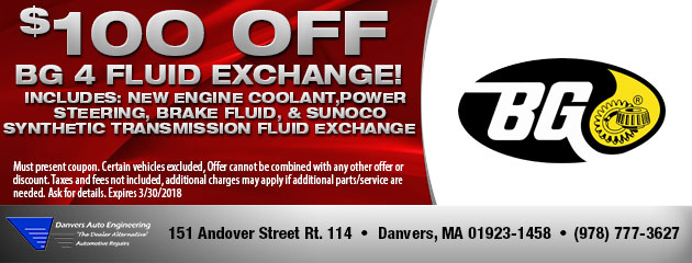 $100 Off BG 4 Fluid Exchange
