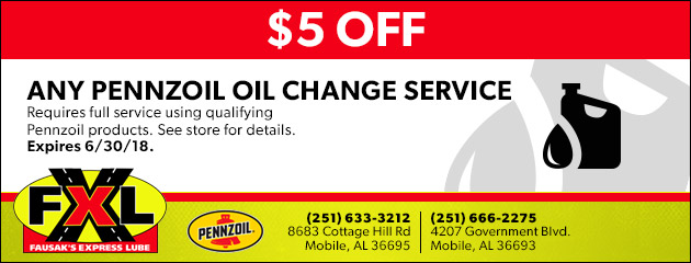 $5 OFF Any Pennzoil Oil Change Service