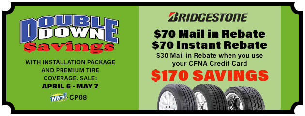 Double Down - $170 Savings on Bridgestone Tires