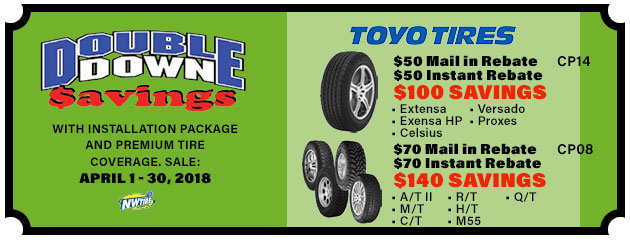 Double Down - Up to $140 in Savings on Select Toyo Tires
