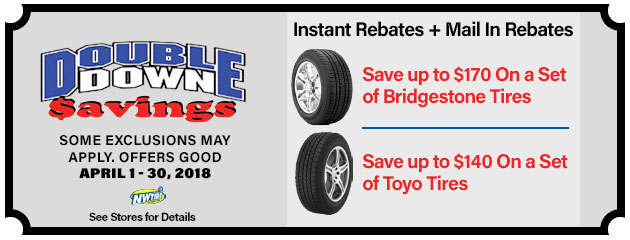 Double Down - Instant rebates on Bridgestone and Toyo Tires