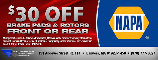 $30 Off Front or Rear Brake Pads & Rotors