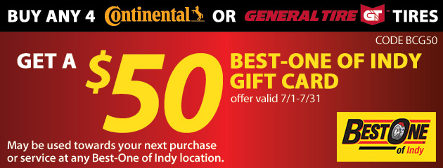 Buy Any 4 Continental or General Tires and Get a $50 Gift Card