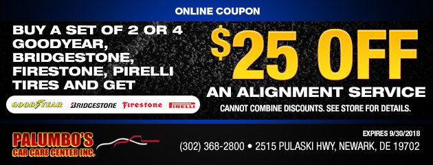 Buy 2 or 4 Goodyear, Bridgestone, Firestone, Pirelli tires get $25 Off Alignment