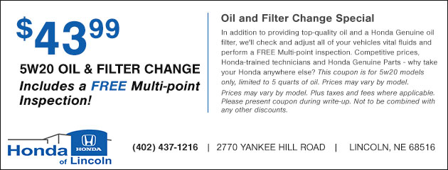 $43.99 5W20 Oil and Filter Change plus a Free Multi-point Inspection
