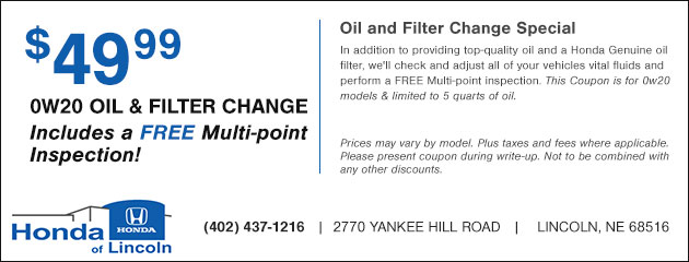 $49.99 0W20 Oil and Filter Change plus a Free Multi-point Inspection