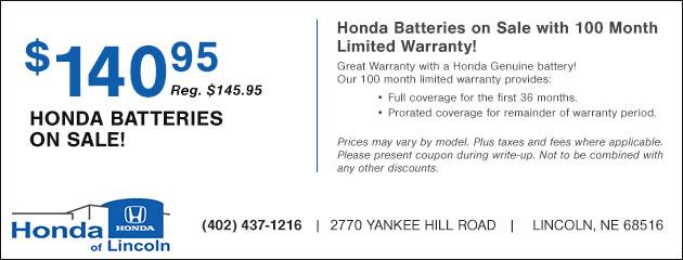 Honda Batteries On 140 95