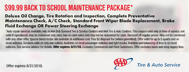 $99.99 Back to School Maintenance Package