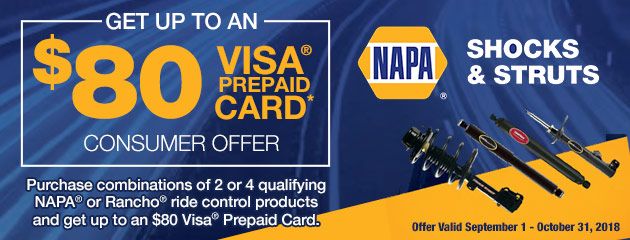 Get up to an $80 Visa Card on NAPA Shocks & Struts