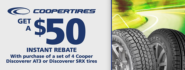 $50 Instant Rebate on Select Cooper Tires