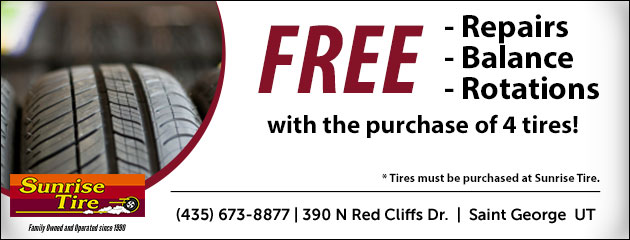 Free Repairs, Balance and Rotations with Purchase of 4 Tires