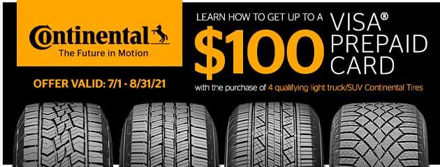 Continental - $100 Rebate
