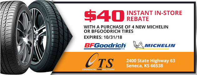 $40 instant in store rebate with a purchase of 4 new Michelin or BFGoodrich tires