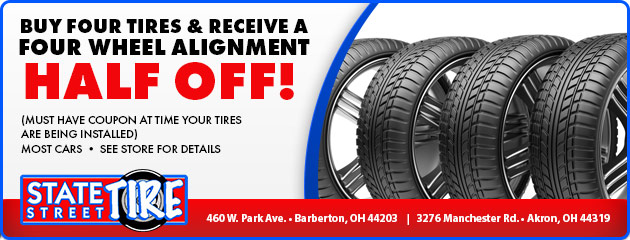 Buy four tires and receive a four wheel alignment half off!