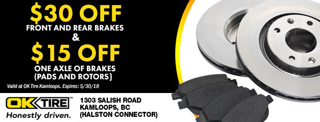 $30.00 off front and rear brakes and $15.00 off one axle of brakes (pads and rotors)
