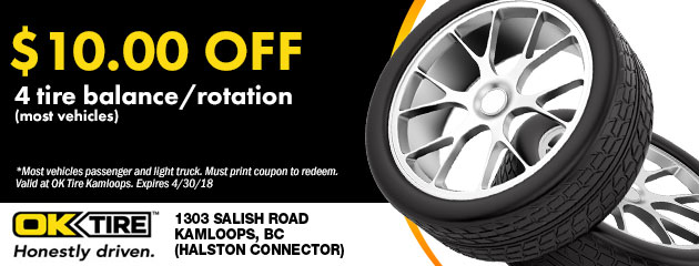 $10.00 off 4 tire balance/rotation