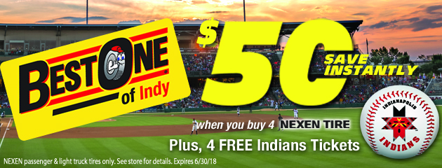 Save $50 when you buy 4 Nexen Tires Plus 4 Free Indians Tickets
