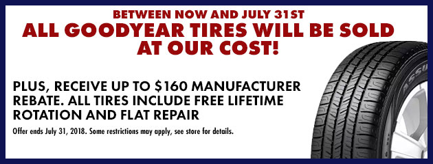 You Pay What We Pay for All Goodyear Tires in the Month of June!
