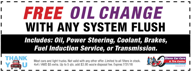 Free Oil Change With Any System Flush