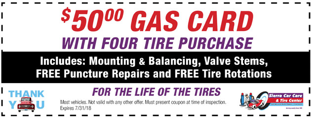 $50 Gas Card with Four Tire Purchase