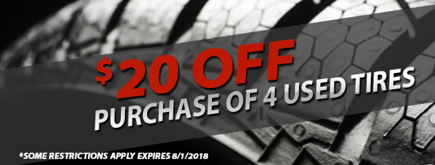 $20 off purchase of 4 used tires