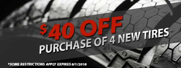 $40 off purchase of 4 new tires