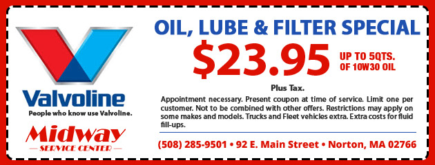 Oil and Filter Special only $23.95