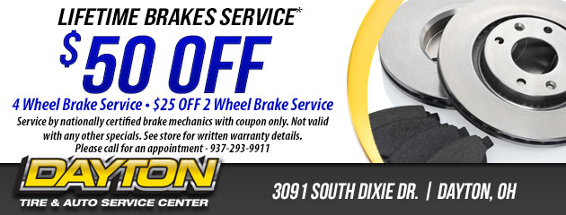 $50 OFF LIFETIME BRAKES SERVICE*