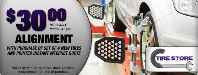 or make mention at the counter for the $30 alignment special